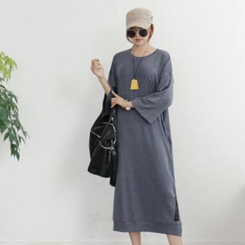 圓領七分袖連身裙 (3 colors)