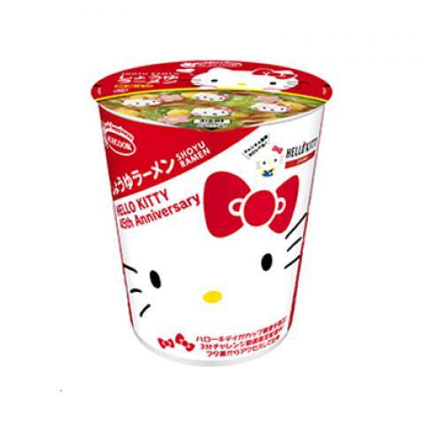 【新商品】ハローキティ45周年お祝い しょうゆラーメン