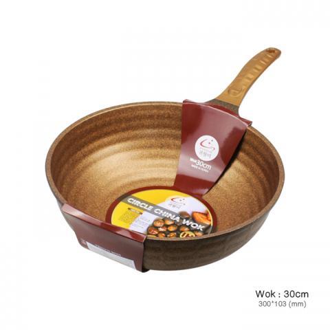 韓國 KWIWELMI 黃金麥飯石中式炒鍋 - 30cm