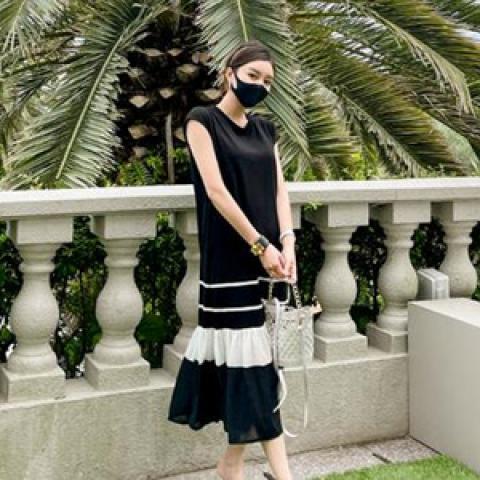 韓國新品﹗雪紡裙腳連身裙