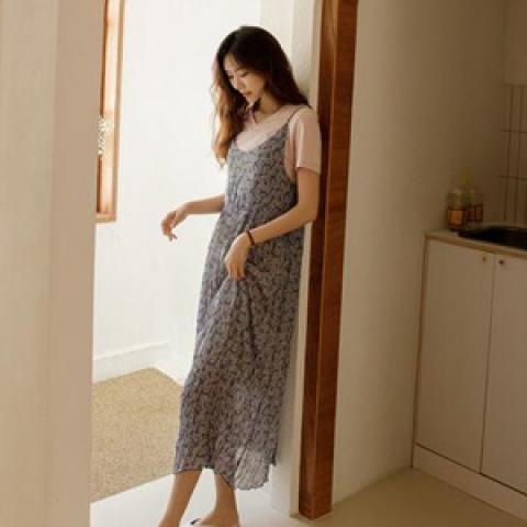 韓國新品﹗雪紡印花連身裙