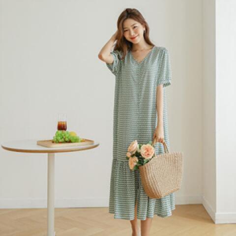 韓國新品﹗復古碎花開襟 連身裙