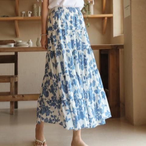 韓國新品﹗飄逸印花裙子