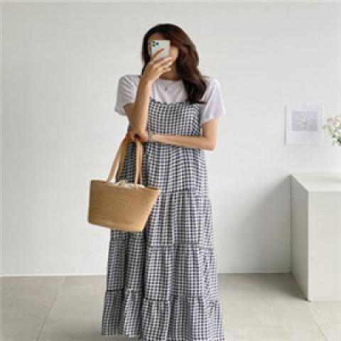 韓國新品﹗格仔連身裙